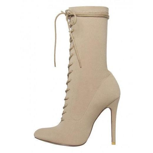 KimK Nude Lycra Lace Up Sock Boots